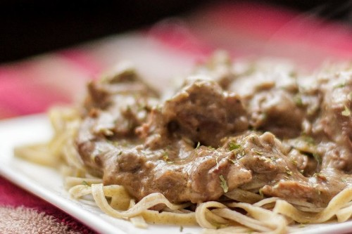 Beef Stroganoff with (hidden) Mushrooms over Wild Rice Noodles
