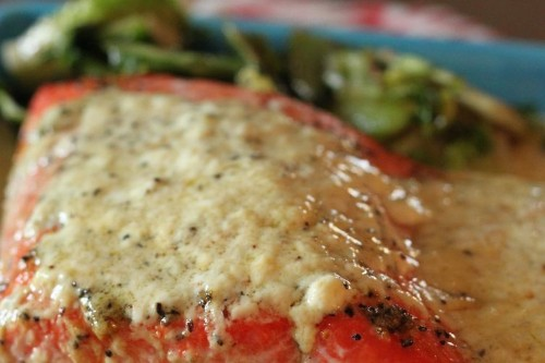 Lemon Cream Roast Salmon with WhippedParsnips