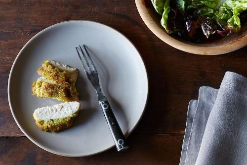 Dinner Tonight: Scallion Pesto-Crusted Chicken + Brown Butter Raspberries