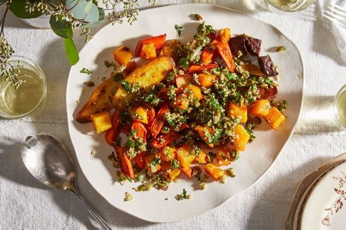 Roasted Vegetables with Crunchy, Lemony Topping
