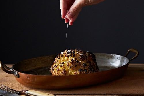Whole Oven-Roasted Cauliflower - Vegetarian Genius Recipe