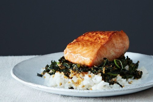 Crispy Coconut Kale with Roasted Salmon and CoconutRice