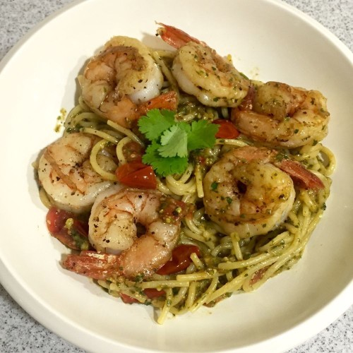 Spaghetti with Cilantro-Pistachio Pesto and Shrimp Recipe on Food52