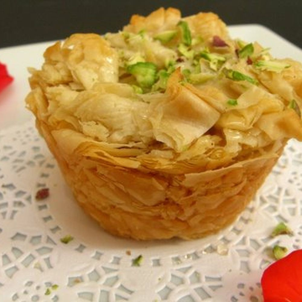 Heavenly Kanafe.... A Syrian Dessert made with Ricotta & Shredded Filo Dough Recipe on Food52