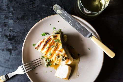 Grilled Swordfish with Lemon and CaperSauce