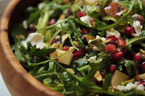 Arugula, Pear and Goat Cheese Salad with PomegranateVinaigrette