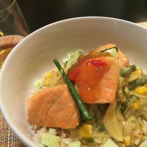 Salmon with Summer Vegetables in Green Curry  Recipe on Food52