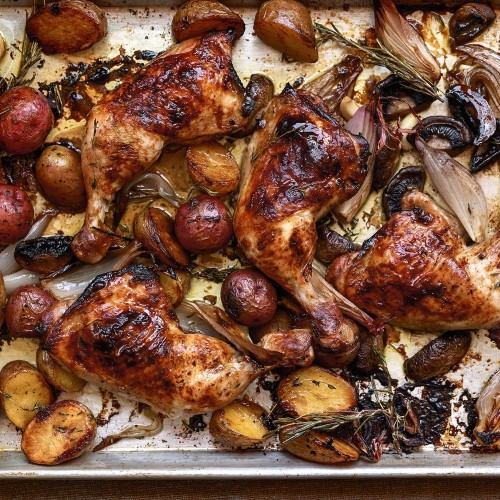 Sheet-Pan Supper: Balsamic Chicken with Baby Potatoes and Mushrooms  Recipe on Food52