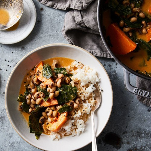 Sweet Potato-Coconut Curry with Black-Eyed Peas & Collard Greens Recipe on Food52
