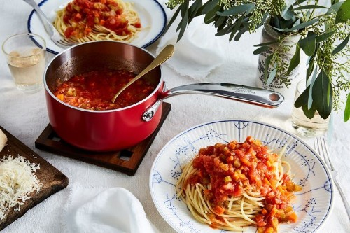 Marcella Hazan's Tomato Sauce with Olive Oil and ChoppedVegetables