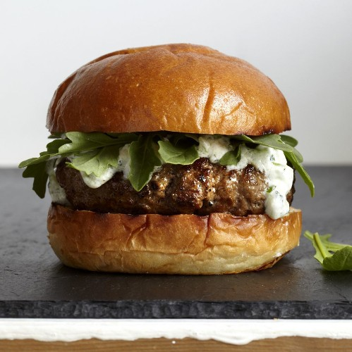 Karen Weinberg's Lamb Burgers with Tzatziki andArugula