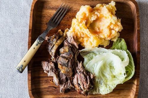Jamie Oliver's Roasted Shoulder of Lamb with Smashed Vegetables andGreens