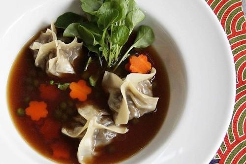Mushroom Broth with Smoked Eggplant Dumplings Recipe on Food52
