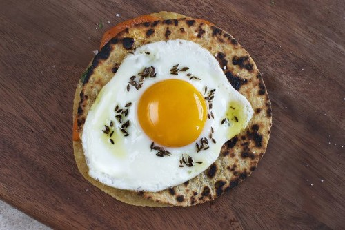 Sweet Potato and Cilantro Quesadilla with Fried Egg and CuminOil