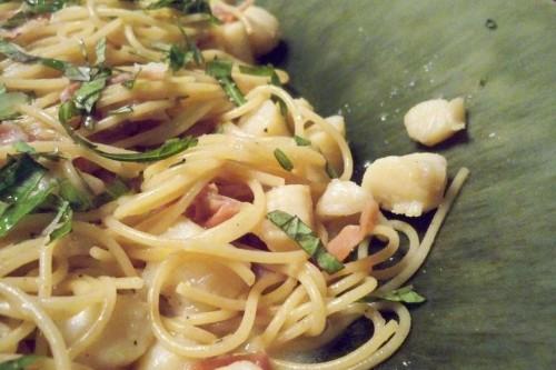 Scallops and Prosciutto overCapellini