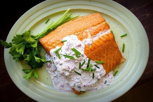 Smoked Salmon with Horseradish CaperSauce