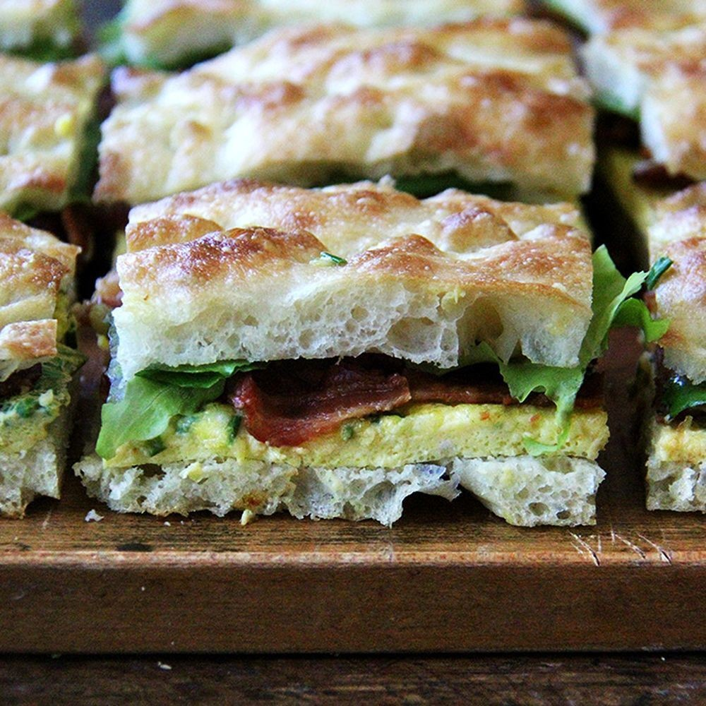 Sheet Pan Bacon and Egg Breakfast Sandwiches with Overnight Focaccia Recipe on Food52
