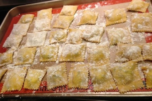 Homemade Ravioli with Ricotta Cheese and SpinachFilling