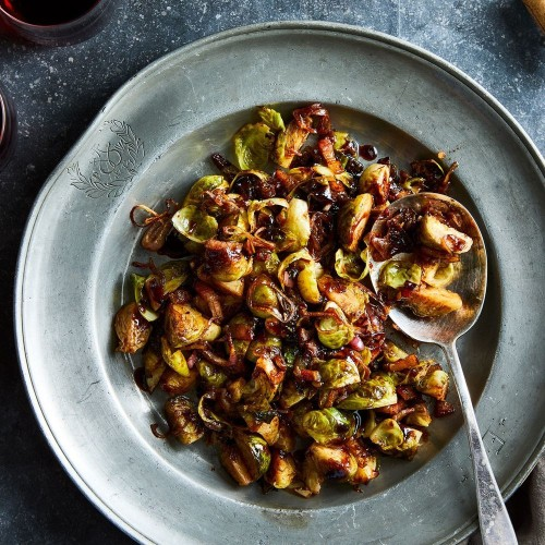 Roasted Brussels Sprouts With Bacon & Balsamic-Cranberry Glaze  Recipe on Food52