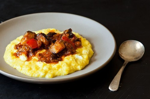 Dinner Tonight: Sweet Corn Polenta with Eggplant Sauce