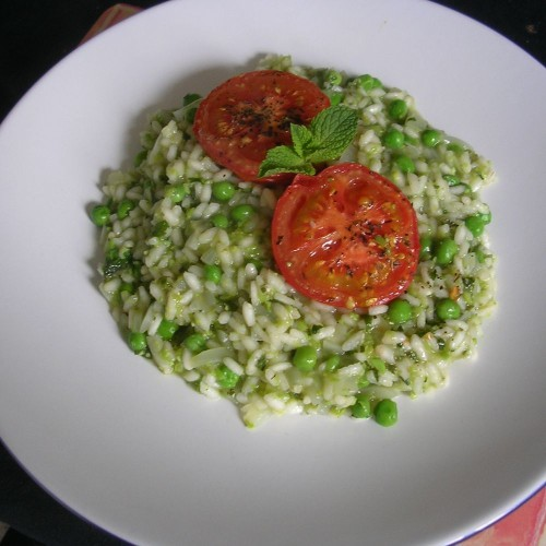 Mint and Green Pea Risotto, with Roasted Tomatoes Recipe on Food52