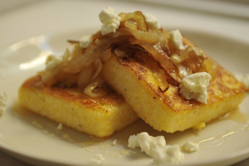 Griddled Polenta Cakes with Caramelized Onions, Goat Cheese, andHoney