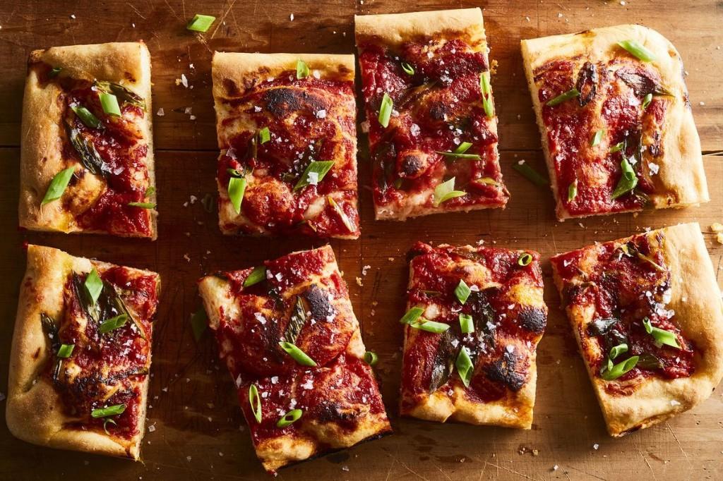 """""""Pizza"""" Focaccia with Tomato Sauce & Green Onion"""