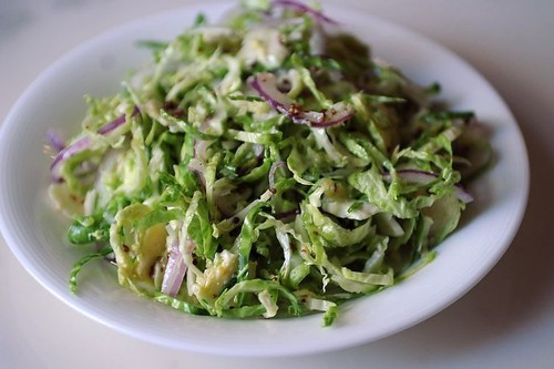Shaved Brussels Sprout Salad with Red Onion, Lemon andPecorino