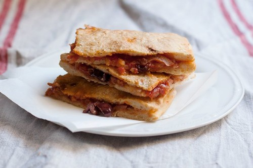 Pizza Rustica (Focaccia Filled with Tomato, Onions &Olives)