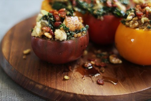 Stuffed Tomatoes with Pancetta Breadcrumbs