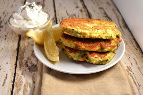 Light-As-Air Chickpea and Zucchini Fritters ~ Lemon, Herbs and Yogurt Recipe on Food52