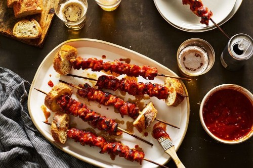 Puerto Rican Chicken Skewers With Guava BBQ Sauce