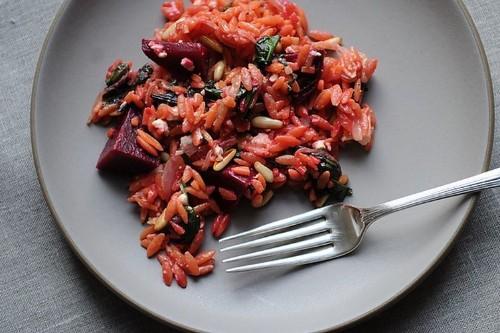 Warm Orzo Salad with Beets &Greens