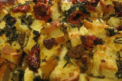 Savory Sausage, Greens and Slow Roasted Tomato Bread Pudding  Recipe on Food52