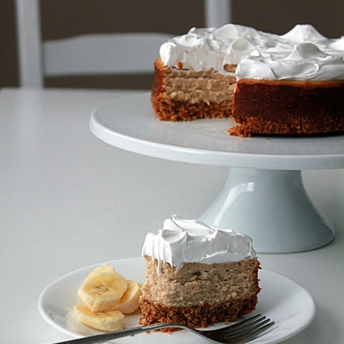 Peanut butter cheesecake with marshmallow frosting and bananas Recipe on Food52