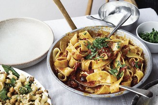 Ottolenghi's Pappardelle with Rose Harissa, Black Olives & Capers Recipe on Food52