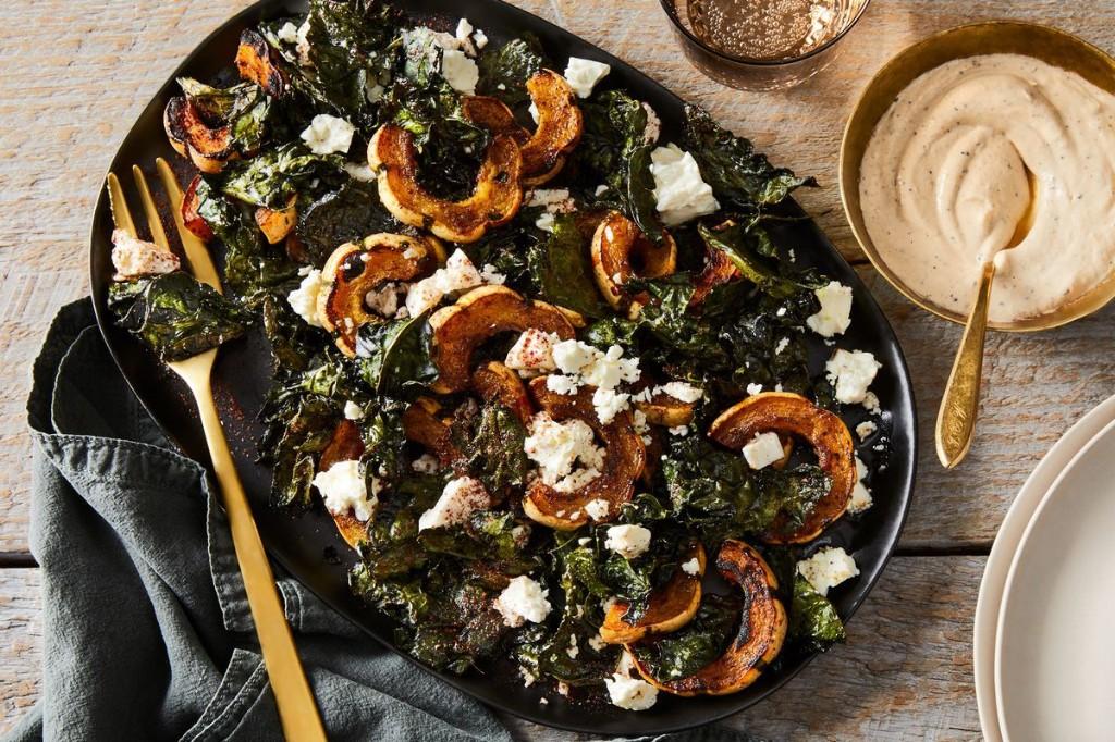 Roasted Delicata Squash With Crunchy Kale & Feta