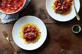 Spaghetti Squash with White Bean Ragoût