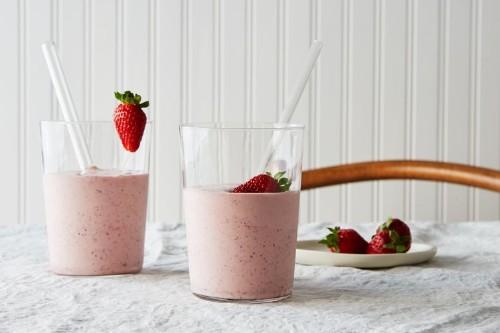 Roasted Strawberry Milkshake with Buttermilk andMint