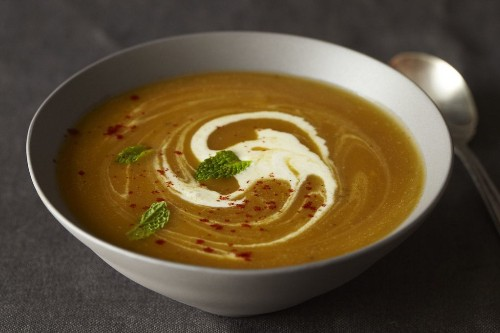 Pumpkin Eater:  Winter Squash Soup with (Less) Red Chile andMint