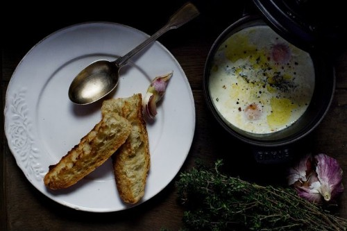 Eggs en Cocotte with Cream, Garlic & Thyme Recipe on Food52
