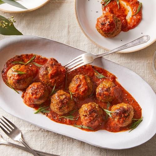 Turkey Meatballs in Tomato Soup - Mom's Riff on Porcupine Meatballs