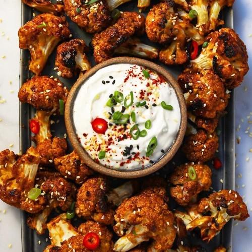 Korean-Style Cauliflower 'Wings' With Creamy Ginger-Sesame Dip Recipe on Food52