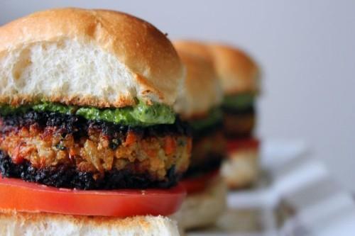 Veggie Masala Burgers with Cilantro ChutneyAioli