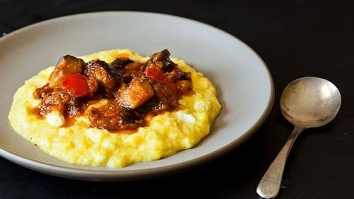 Dinner Tonight: Sweet Corn Polenta with Eggplant Sauce