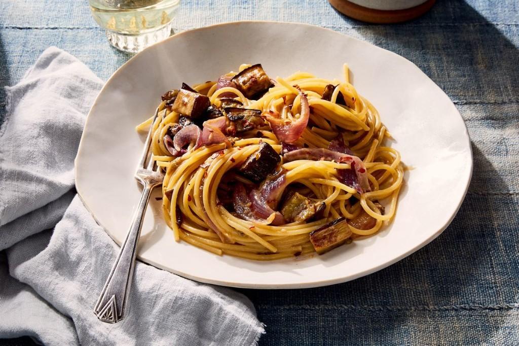 Miso-Eggplant Spaghetti