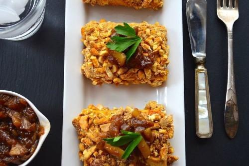 Cashew and Pretzel Crusted Tofu with sweet onion relish- VeganThanksgiving