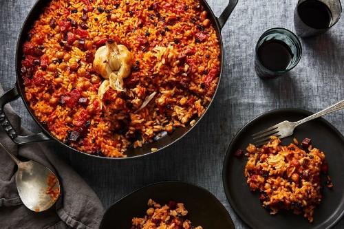 Smoky Baked Rice with Chorizo & All the Garlic (No Peeling, Chopping,Mess)