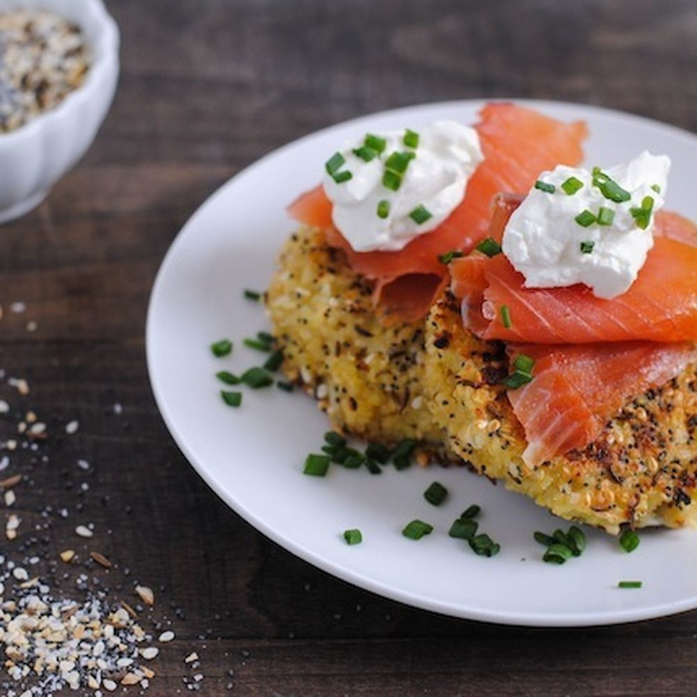 Everything Bagel Quinoa Cakes with Smoked Salmon and Crème Fraîche Recipe on Food52