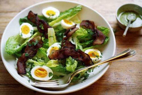 Hearts of Romaine Salad with Bacon, 5-Minute Eggs, and Pesto Dressing Recipe on Food52
